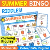 Summer Bingo Riddles - Speech Therapy Game or Class Party Activity