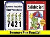 Place Value and Syllable Sort Summer Center Games Bundle