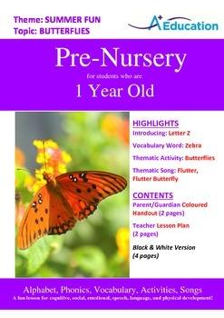 Summer Fun - Butterflies : Letter Z : Zebra - Pre-Nursery (1 year old)