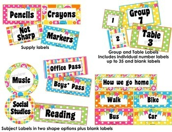 Summer Fun Classroom Signs, Hall Passes and Supply Labels