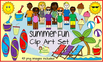 Summer Fun Clip Art Set - 43 png images for personal or commercial use