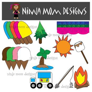 Summer Fun Clip Art and Frames in Color and Black Line