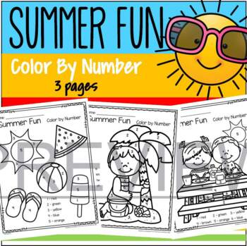 Summer Fun Color by Number Printables - 3 pages by ...
