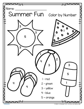 Summer Fun Color by Number Printables 3 pages by