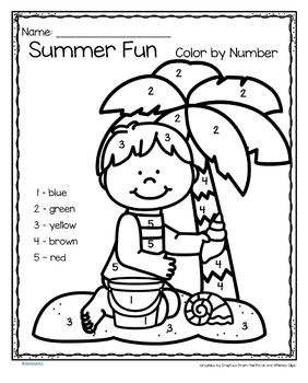 summer fun colornumber printables  3 pageskidsparkz  tpt