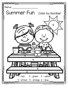 Summer Fun Color by Number Printables - 3 pages