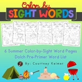 Summer Fun Color by Sight Word Coloring Pages {Pre-Primer Sight Words}