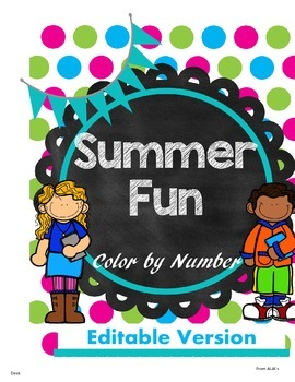 Summer Fun Color by number (Editable)