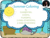 Summer Fun: Categorization and Following Directions Coloring Pages