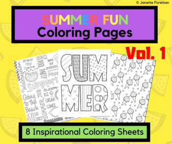 Summer Coloring Pages Vol 1 - End of the Year Activities