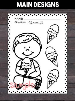 Summer Fun Coloring and Writing Pages - beach, summer vacation