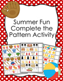 Summer Fun Complete The Pattern Activity