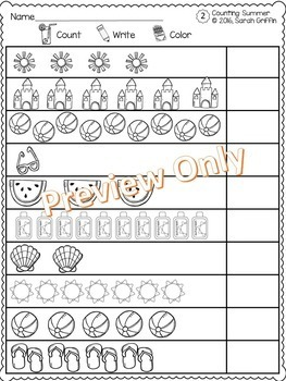 Numbers to 10 - Count, Write, Color Summer Counting Math Worksheets