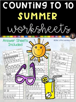 Numbers to 10 - Count, Write, Color Summer Counting Math W