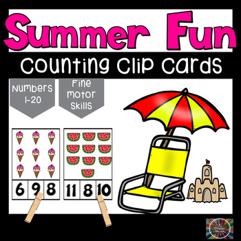 Summer Fun Counting Number Clip Cards 1 - 20 No prep Math Center Cards