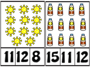 Summer Fun Count and Clip Number Cards