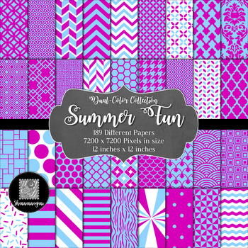 12x12 Digital Paper - Dual-Color Collection: Summer Fun