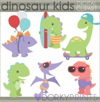 Summer Fun Dinosaur Clip Art