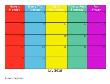 Summer Fun EDITABLE Activity Calendar