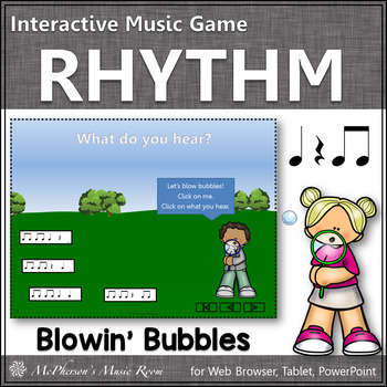 Spring Music Game: Eighth Note Interactive Rhythm Game {bubbles}