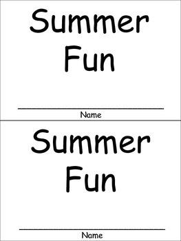 Summer Fun Emergent Reader for Kindergarten