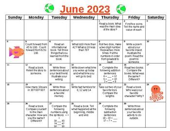 Summer Fun First to Second Grade Activity Calendar for 2017!