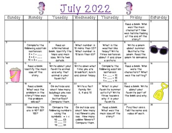 Summer Fun First to Second Grade Activity Calendar for 2018!