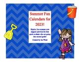 Summer Fun First to Second Grade Activity Calendar for 2019!