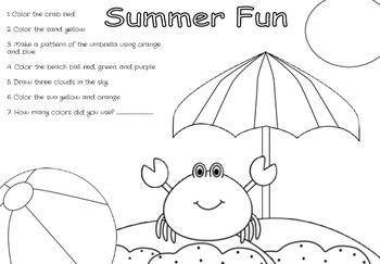 Summer Fun Following Directions