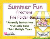 Summer Fun Fractions File Folder Game