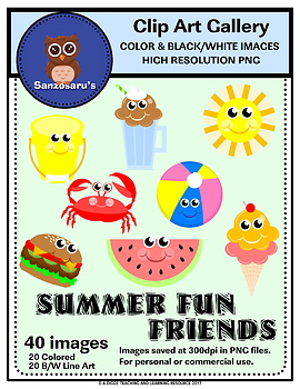 Summer Fun Friends Clipart {Sanzosaru's}