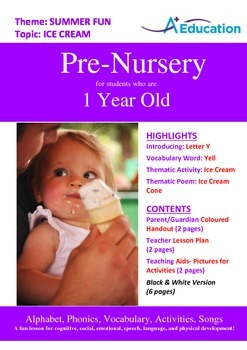 Summer Fun - Ice Cream : Letter Y : Yell - Pre-Nursery (1 year old)