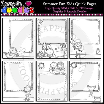 Summer Fun Kids 8 1/2 x 11 Ready Pages