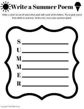 Summer Fun Language Arts Worksheet Packet