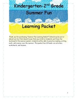 Summer Fun Learning Packet
