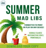 Summer Fun Mad Lib Collection **google slides & interactiv