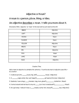 """""""Summer Fun"""" Parts of Speech Games (Nouns and Adjectives), 2 pages...with KEYS!"""