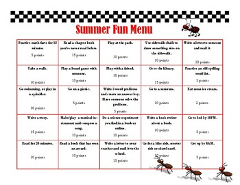 Summer Fun Menu