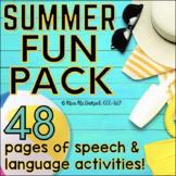 Speech Language Therapy Activities & Homework - Summer Fun Pack