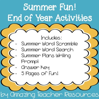 Summer Fun Packet! Perfect for the end of the year!