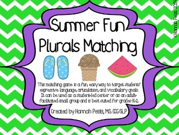 Summer Fun Plurals Matching