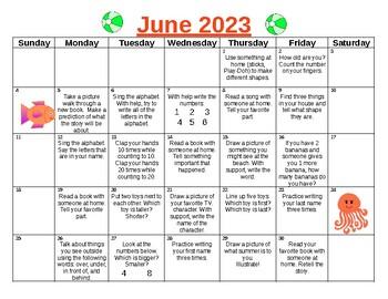 Summer Fun Pre-K to Kindergarten Calendar for 2017!