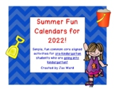 Summer Fun Pre-K to Kindergarten Calendar for 2018!