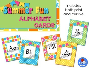 Summer Fun Print and Cursive Alphabet Cards