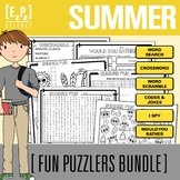 Summer Puzzlers Holiday Bundle- No Prep! Print and Go!
