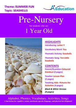 Summer Fun - Seashells : Letter Y : You - Pre-Nursery (1 year old)
