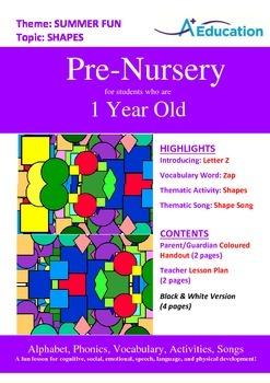 Summer Fun - Shapes : Letter Z : Zap - Pre-Nursery (1 year old)