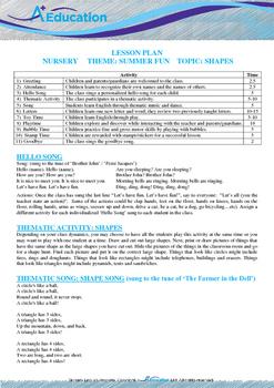 Summer Fun - Shapes : Letter Z : Zero - Nursery (2 years old)