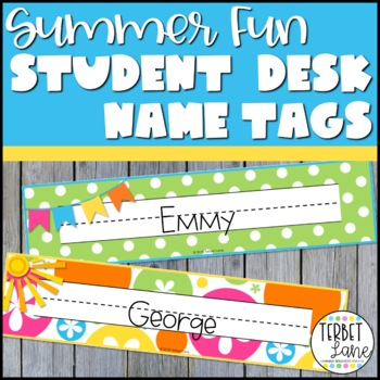 Summer Fun Student Desk Name Plates