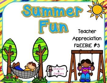 Summer Fun-Teacher Appreciation FREEBIE #3